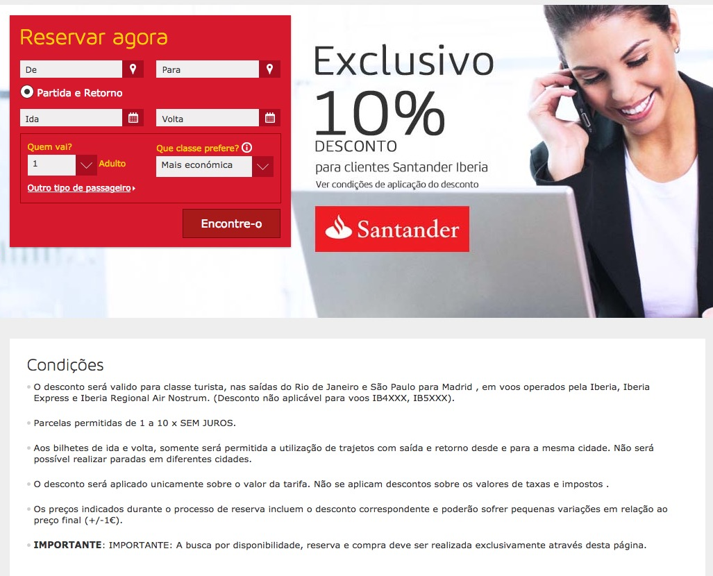 Clientes dos cartões de crédito Santander tem 10% de desconto nas passagens em classe econômica voando Iberia