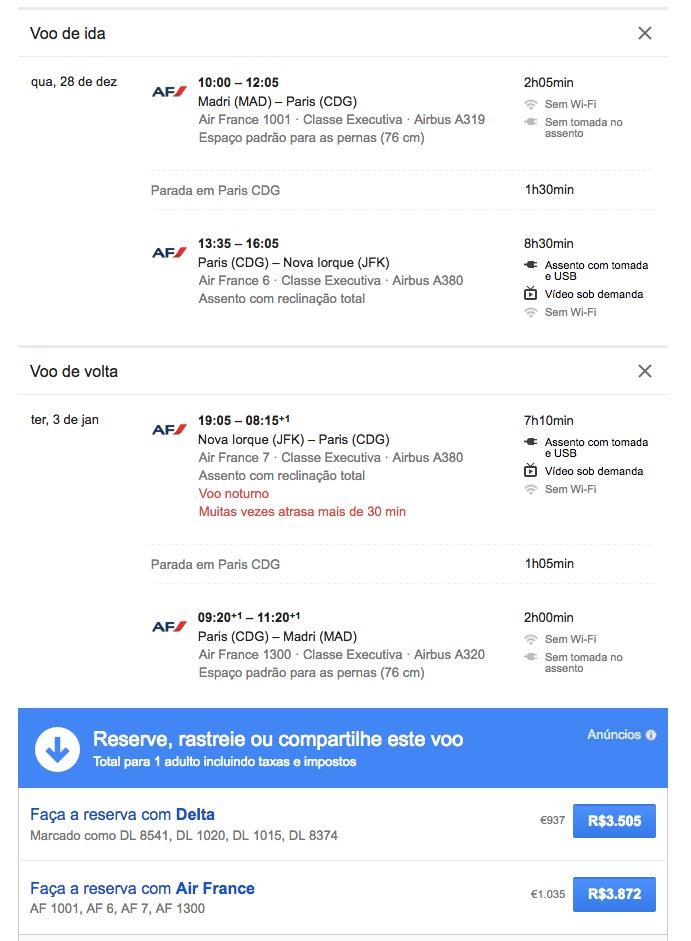 ALERTA DE TARIFAS! Passagens em CLASSE EXECUTIVA, voando no Airbus A380 da Air France, de Madrid para Nova York, NO REVEILLON, por R$ 3.505 (936 euros), *COM TAXAS INCLUÍDAS*!