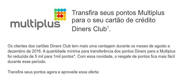 Multiplus: bônus de 40% prorrogado e diminuição para 1.000 pontos nas transferências do Diners Club