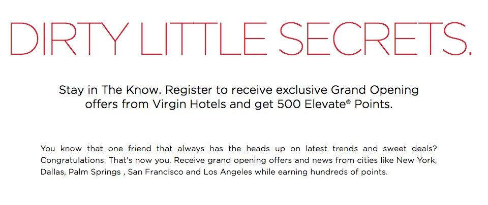 Virgin America Elevate 500 pts