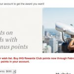 Nova promoção de compra de pontos IHG com até 75% de bônus. 105 mil pontos por USD 690 (~ R$ 2.495,67)