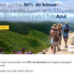 Mix: 50% do Santander para o Tudo Azul + 20% de desconto em passagens; facilitação de embarque doméstico em estudo