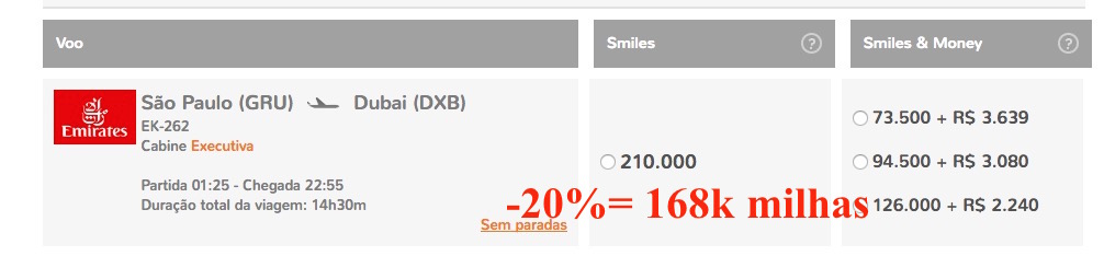 Smiles Emirates 20 off exemplo