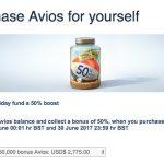 Bônus de 50% na compra de Avios. 150 mil Avios por USD 2.775 (~R$ 688,81 o bloco de 10k Avios)