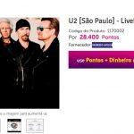 Resgate 28.400 pontos Livelo por ingressos para o show do U2. Meio caro, não!?
