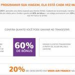 Bônus 50% ou 60% para o Smiles + 20% de desconto em passagens Air France