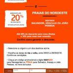 Códigos de desconto Gol para Navegantes, Salvador, Aracaju e João Pessoa