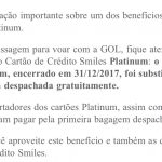 Smiles emite comunicado sobre a redução/substituição de um benefício do cartão de crédito Smiles Master Platinum