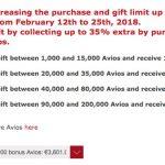 Bônus de até 35% na compra de Avios via Iberia Plus. 270 mil Avios por 3.601 euros (~R$ 567,51 o bloco de 10k Avios)