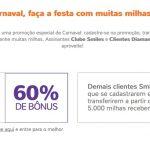 Bônus 50% ou 60% cartões de crédito para o Smiles; Diners: 60% + 30% de desconto em voos Copa