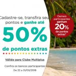 Bônus 20% (não Clube), 30%, 35% ou 50% cartões de crédito para o Multiplus Fidelidade