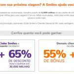 Bônus 55% ou 65% cartões de crédito para Smiles + compra de milhas com desconto (R$ 245 o bloco de 10k, sendo do Clube/Diamante)