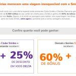 Bônus 60% ou 65% cartões de crédito para Smiles + 25% de desconto em resgates de passagens Delta