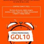 Cupom de desconto: Código promocional Gol 10% de desconto voos nacionais, válido até 2 de maio de 2018.