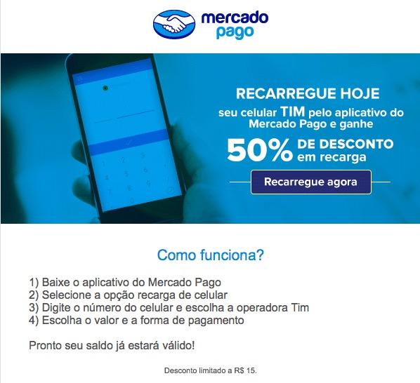 Só hoje  recarregue seu celular TIM com Mercado Pago e ganhe 50% de ... f374f06eaaf39