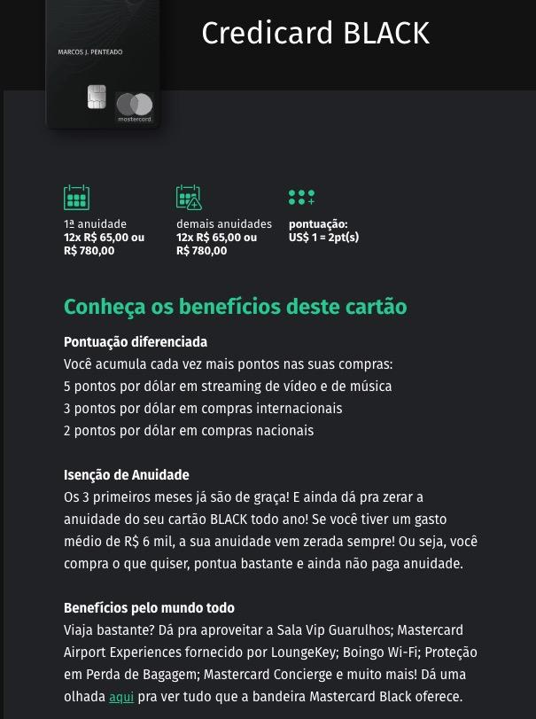 Credicard Black Um Dos Cartoes Master Black Com Melhor Custo