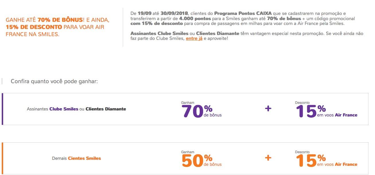 Mix  Bônus de  70% Caixa para o Amigo  50% ou 70% Caixa para o Smiles + 15%  de desconto em resgates Air France  50% ou 70% BB Livelo para o Smiles  ... 8267c6995a0a9